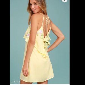 Lulus Rahi Cali Delilah Embroidered Yellow Dress